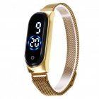 Electronic Watch Magnetic Quartz Waterproof Touch Led Bracelet Gold (blue circle)