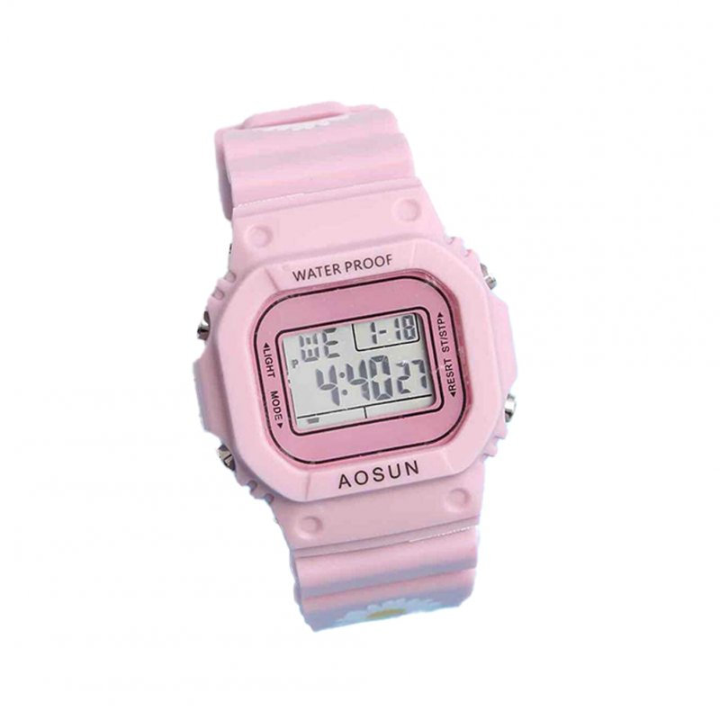 Electronic Watch Small Daisy Luminous Silicone Led Watch Watch Pink