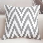 Elegant Gray Pattern Throw Pillow Cover for Sofa Office Chair Car Decor C embroidery song fingerprint   gray 45 45cm individual pillowcase