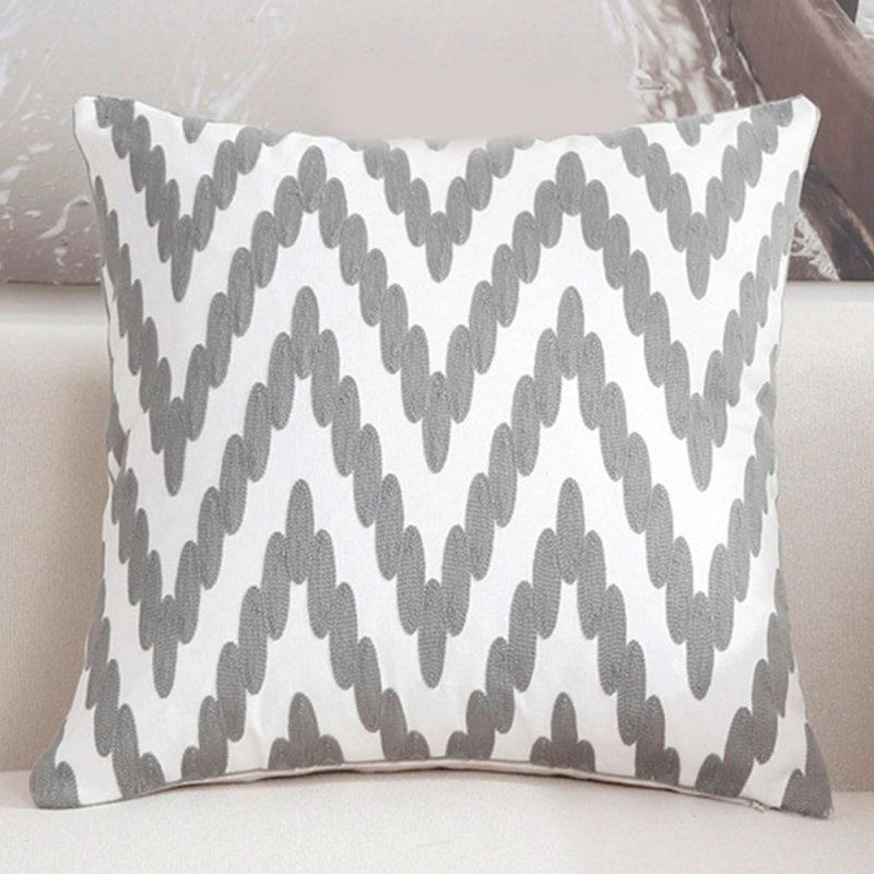 Elegant Gray Pattern Throw Pillow Cover for Sofa Office Chair Car Decor C embroidery song fingerprint - gray_45*45cm individual pillowcase