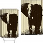 Elephant Theme Printing Shower  Curtain For Bathroom Bathtub Waterproof Curtain Black and white oil painting elephant_180*200cm