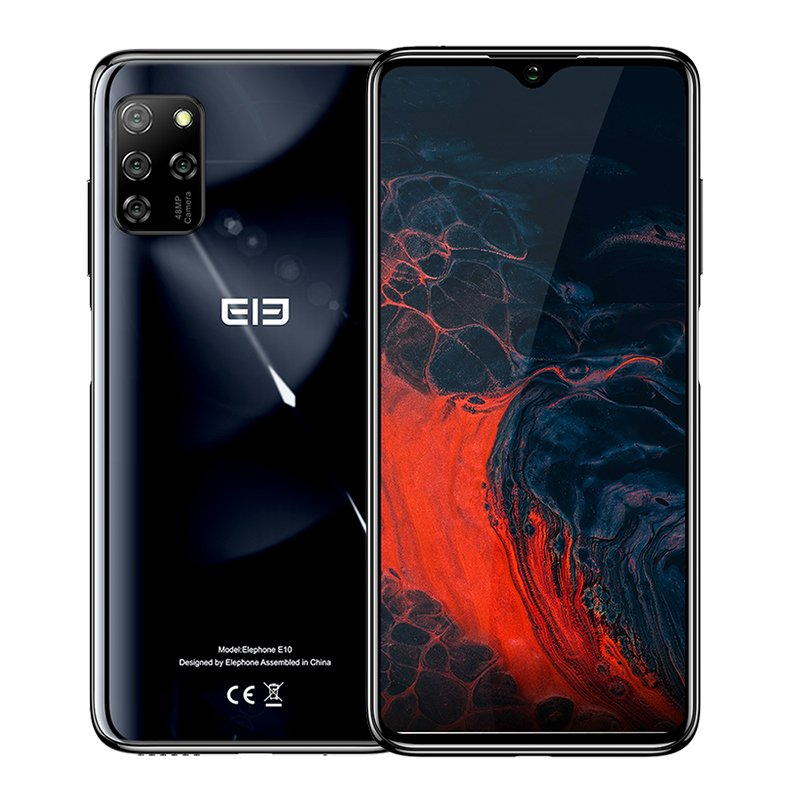 Elephone E10 Mobile Phone 6.5Inch MT6762D Octa Core 4GB 64GB 4000mAh Android 10 Quad Camera 48MP NFC Side Fingerprint Smartphone black