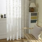 Embroidered Window Sheer Curtain Panel For Living Room Bedding Room Tulle Window Screens Balcony Curtain Drapes white_140*220cm