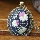 Embroidery  Pendant  Kit Embroidered  Pendant Necklace With Needle Thread For Diy Art Crafts 9#_30*40mm