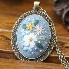 Embroidery  Pendant  Kit Embroidered  Pendant Necklace With Needle Thread For Diy Art Crafts 12#_30*40mm