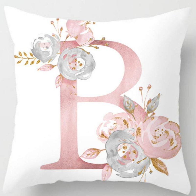 English Alphabet Cushion Cover Pink Flower Printed Pillow Cover for Sofa Home Livingroom Kid Room Car Decoration Pillowcase
