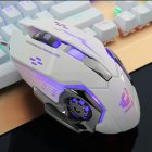 Ergonomic Pro Wired LED Light 4000DPI Optical USB Gamer Gaming Mouse  white
