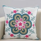 Ethnic Style Embroidery Pattern Car Sofa Throw Pillow Cover C fashion flower language_45*45cm individual pillowcase