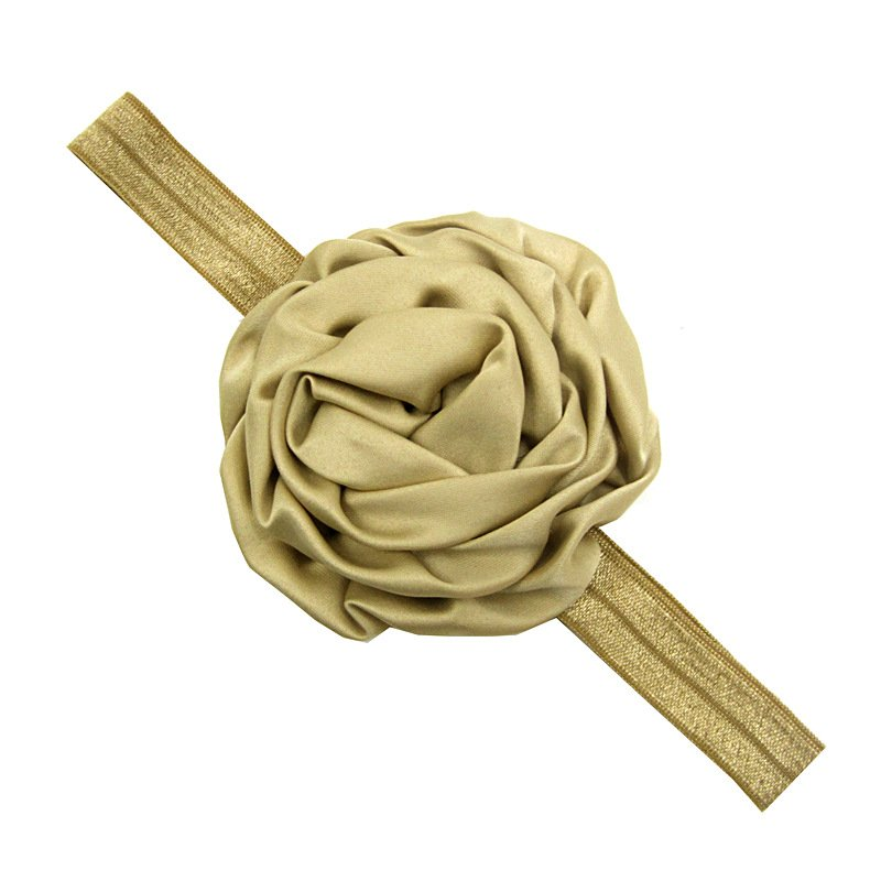 Europe and America Kids Handmade Flowers Headband Rose Hair Band for Baby Girls Khaki