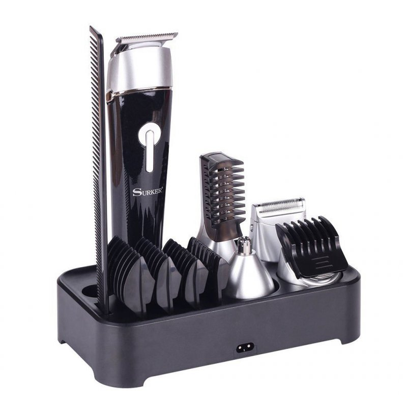 Europlug 5 in 1 Hair Clipper Black & Silver