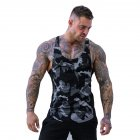 Explosion Muscle Fitness Camouflage Vest Male Breathable Quick-Drying Spandex Men's Casual Outdoor Movement Vest Gray camouflage_L
