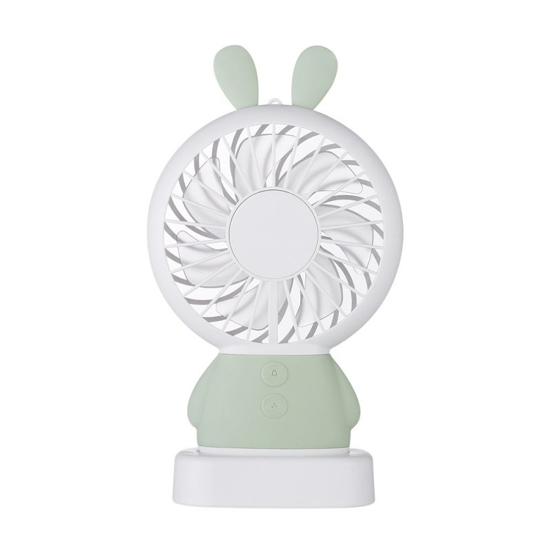 Exquisite Cute Rabbit Bear Handheld Fans Mini- Fans Portable Small LED Night-light Electric Fan Green rabbit