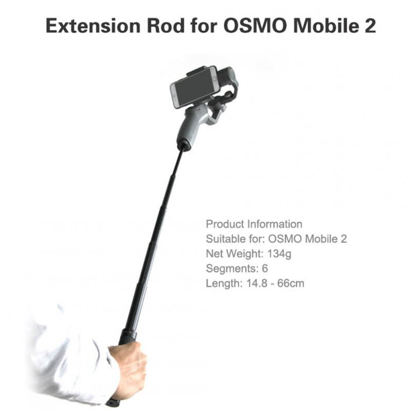 Extension Stick Rod pole Scalable Holder for DJI OSMO Mobile 2/Zhiyun Smooth Q 4 Handheld Smartphone Gimbal Accessories  black