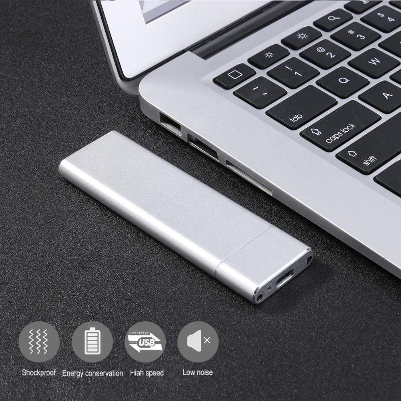 External Enclosure Case for m2 SATA SSD USB 3.1 M.2 NGFF to USB 3.1 SSD Mobile Hard Disk Box Adapter Card  Silver
