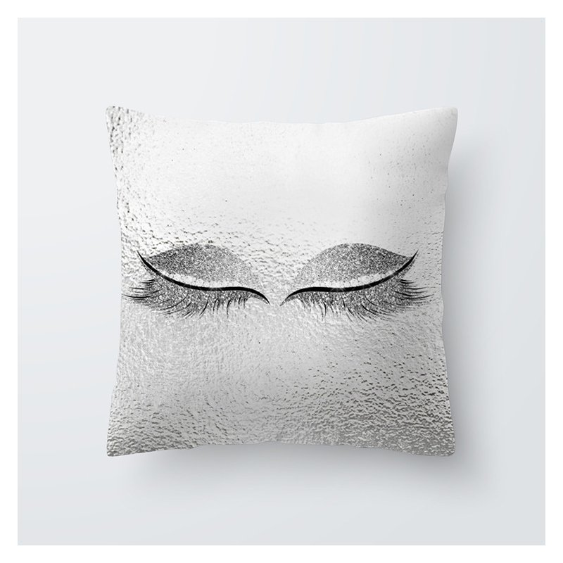 Eyelash Pattern Throw Pillow Cover for Living Room Sofa Sleeping Waist Support 37#_45*45cm