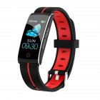 F10C Color Screen Smart Bracelet Heart Rate Blood Pressure Intelligent IP68 Waterproof Bracelet  Black red