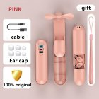 F7 Bluetooth Headset Touch LED Digital Headset Handheld Fan Rechargeable Flashlight Pink