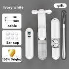 F7 Bluetooth Headset Touch LED Digital Headset Handheld Fan Rechargeable Flashlight white