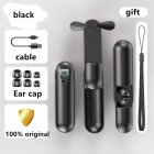 F7 Bluetooth Headset Touch LED Digital Headset Handheld Fan Rechargeable Flashlight black