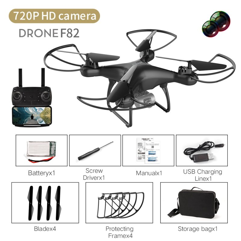 F82 Drone Long Endurance 20 Minutes 4k Dual-camera Real-time Image Transmission Aircraft Fixed Altitude Rc Aircraft Black dual camera 720P