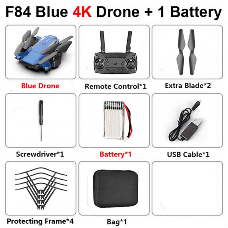 F84 Quadcopter Wireless RC Drone With 4K/5MP/0.3MP HD Camera WiFi FPV Helicopter Foldable Airplane For Children Gift Toy blue_4K 1B