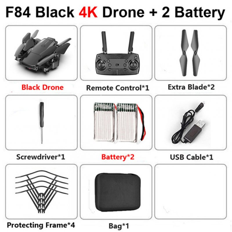 F84 Quadcopter Wireless RC Drone With 4K/5MP/0.3MP HD Camera WiFi FPV Helicopter Foldable Airplane For Children Gift Toy black_4K 2B