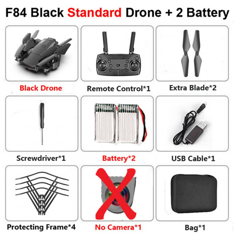 F84 Quadcopter Wireless RC Drone With 4K/5MP/0.3MP HD Camera WiFi FPV Helicopter Foldable Airplane For Children Gift Toy black_No camera 2B