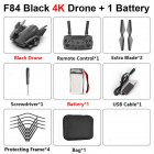 F84 Quadcopter Wireless RC Drone With 4K/5MP/0.3MP HD Camera WiFi FPV Helicopter Foldable Airplane For Children Gift Toy black_4K 1B