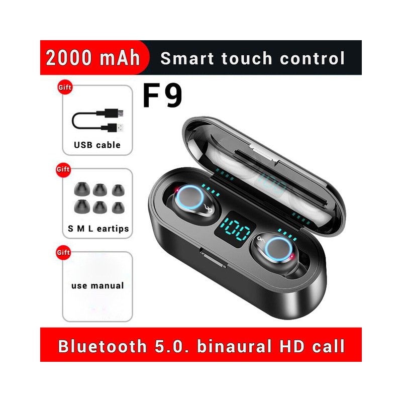 F9 Wireless Earphone Bluetooth V5.0 Handsfree Earbuds 8D Stereo Sound In-ear Headsets With 2000mAh Power Bank  black