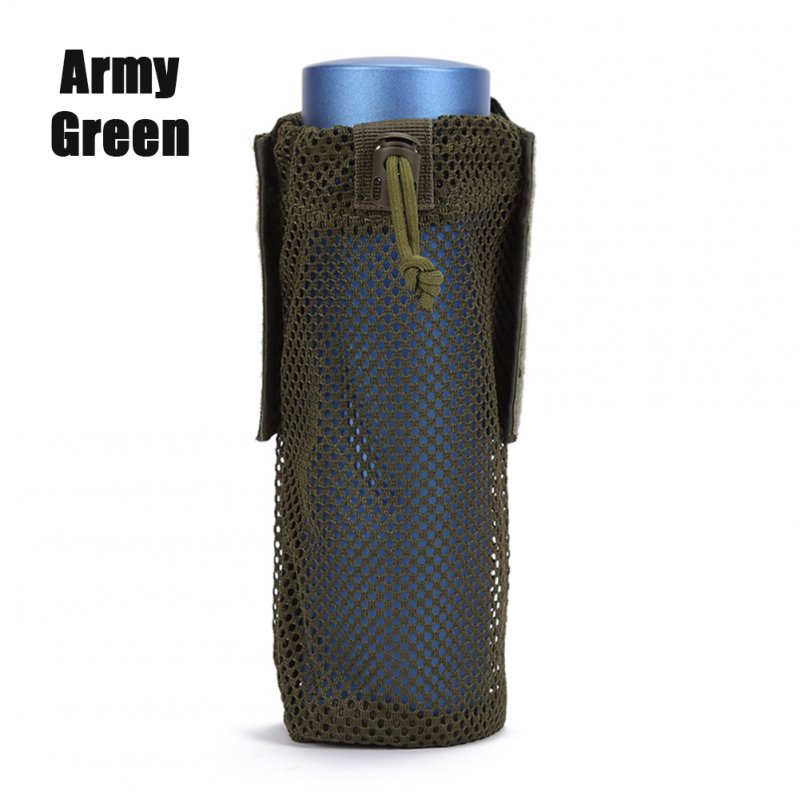 FGJ Lightweight Molle Outdoor Water Bottle Bag Camping Cycling Hiking Foldable Belt Holder Kettle Pouch Army Green_9*23