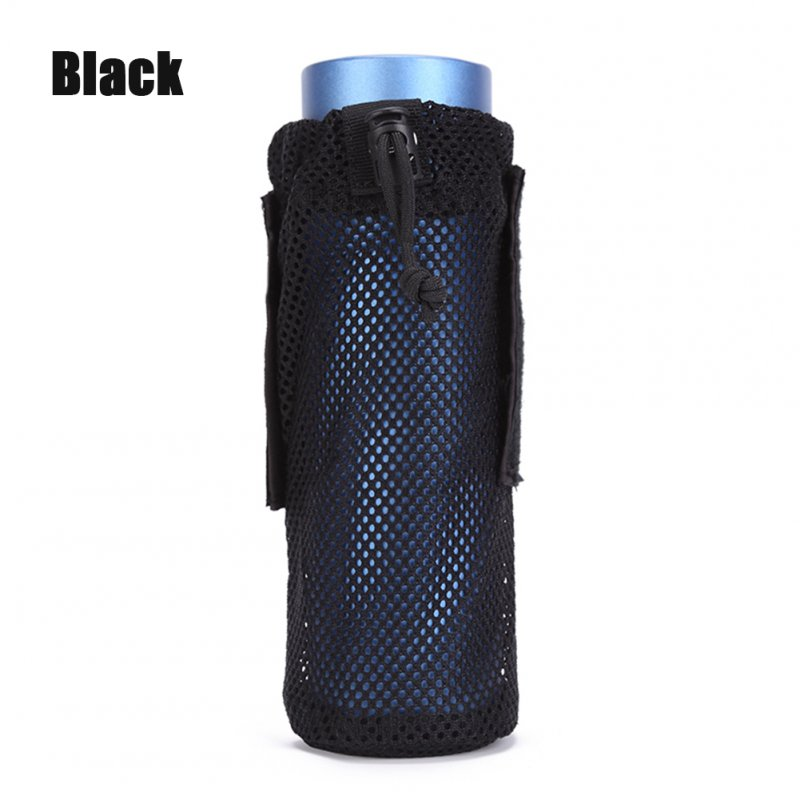 FGJ Lightweight Molle Outdoor Water Bottle Bag Camping Cycling Hiking Foldable Belt Holder Kettle Pouch black_9*23