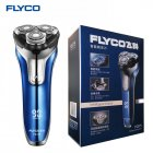FLYCO Electric Shaver Rechargeable Wet Dry Rotary Razor Shaving Machine Pop Up Trimmer LED Charging Display blue European regulations
