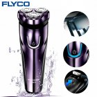 FLyco Electric Shaver with 3D Floating Heads Washable Shaver Electric LED Charging Display Shaving Machine purple European regulations