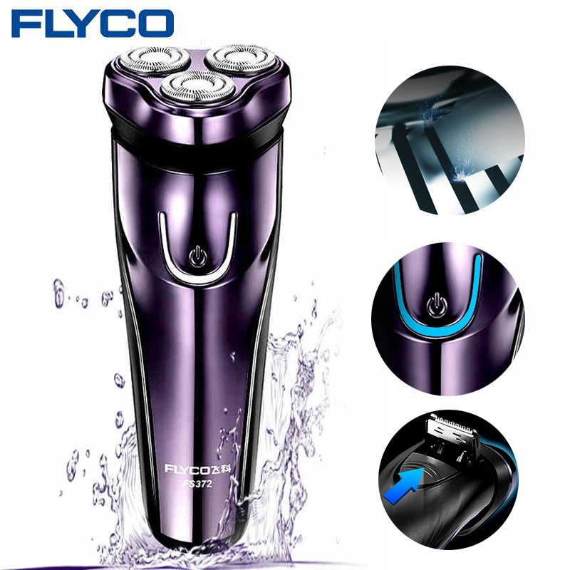FLyco Electric Shaver with 3D Floating Heads Washable Shaver Electric LED Charging Display Shaving Machine purple_Australian regulations