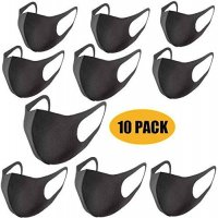 10pcs Thin Face Sponge Mask Washable Breathable Reusable Windproof Dust-Resistant black_10PCS