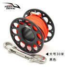 FXL 952 15M 30M Scuba Diving Aluminum Alloy Spool Finger Reel with Stainless Steel Bolt Snap Hook Safe Equipment 30 meters black