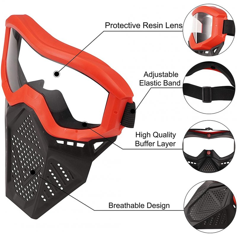 Face Mask with Goggles Compatible with Nerf Rival Apollo Zeus Khaos Blasters Rival Mask red