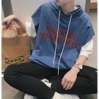 Fake Two-piece Short Sleeves Sweater Loose Casual Pullover Top with Letters Decor for Man blue_XL
