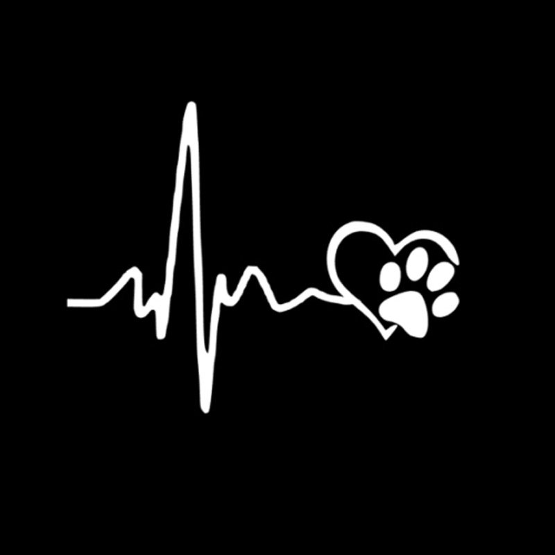 Fashion 10*15CM  Heartbeat Love Dog Footprints Car Decals White