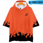 Fashion 3D Anime Naruto Pattern Color Hooded Short Sleeve T-shirt Q-1088-YH09 Orange_L