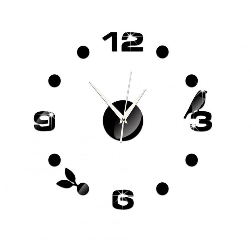 Fashion 3D Mirror Surface Wall Clock for Decoration black