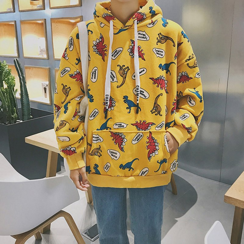 Fashion 3D Printing Loose Hooded Sweatshirts for Students Lovers Autumn Winter Wear yellow_S