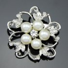 Fashion Alloy Crystal Pearl Bead Inlay Brooch White Aa026 A