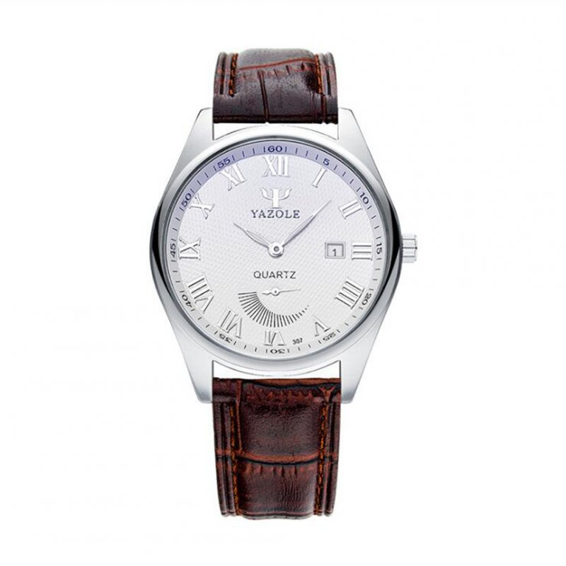 Fashion Business Style Small Pointer Luminous Calendar Lovers Watch Male white dial brown belt