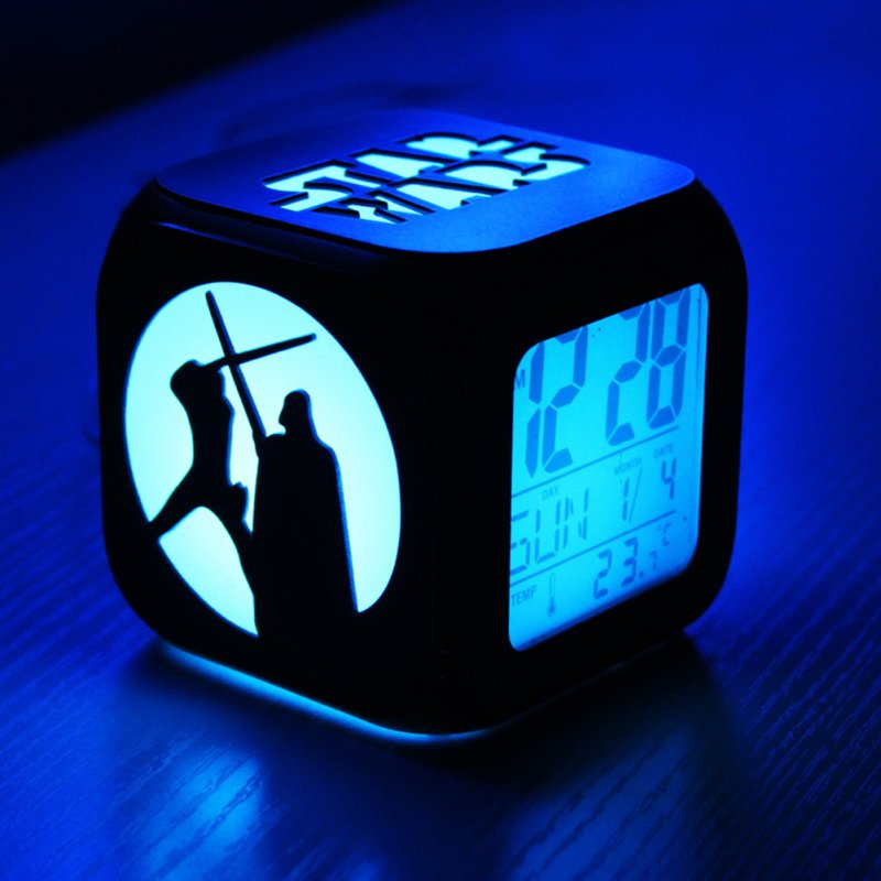 Fashion Creative 3D Small Alarm Clock Mute LED Night Light Electronic Clock for Bedside Bedroom Black case. Battery box version