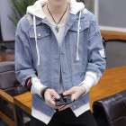 Fashion Denim Jacket with Hood Casual Style Handsome Coat  light blue M