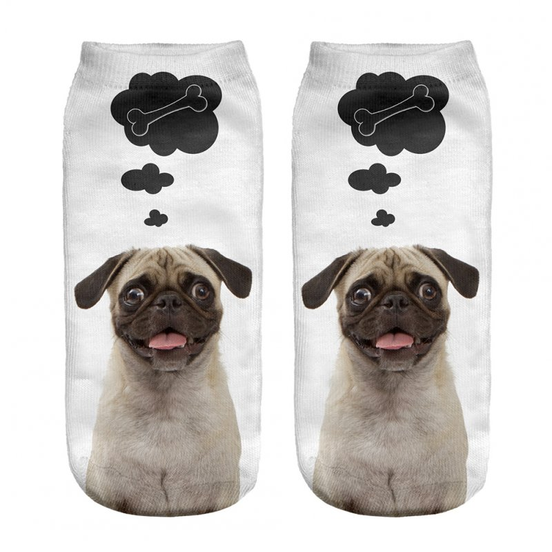 Fashion Dog Bone Pattern Printing Soft Short Ankle Socks white_One size