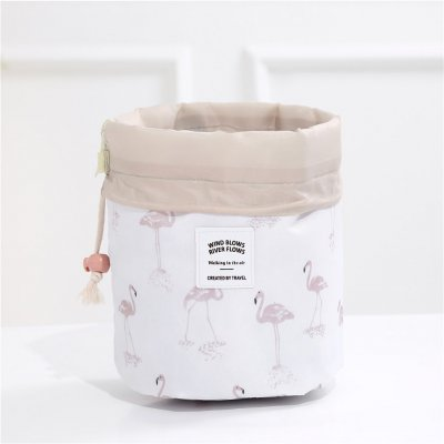 Fashion Drawstring Barrel Women Cosmetic Bag