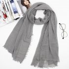 Women Soft Cotton Scarf Gray 180cm