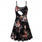 Fashion Flower Print Spaghetti Strap Nursing Maternity Dress for Breastfeeding black_L